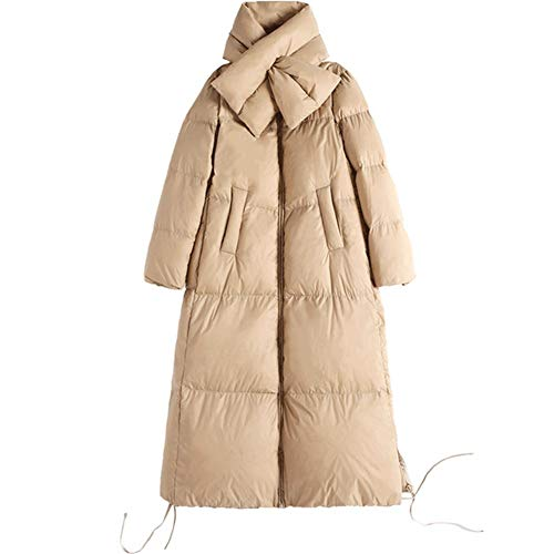 Damesjas in dons-look, winterjas lange donsjas outwear winter warme trenchcoat, witte eendendons losse jas met A-type-kraag