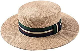 HMJZLy New Spring and Summer Lafite Straw hat Female Striped Wide Flat top hat Wild Sun hat Beach hat Travel (Color : Green)