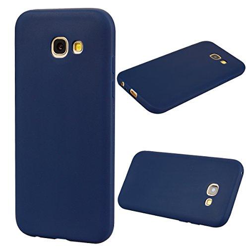 LeviDo Coque Compatible pour Samsung Galaxy A5 2017 Étui Silicone Souple Bumper Antichoc TPU Gel Ultra Fine Mince Caoutchouc Bonbons Couleurs Design Etui Cover, Bleu Foncé