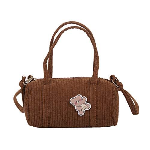 Bolso cilíndrico, bonito bolso de pana, bolso de mensajero casual para mujer, patrón de oso, bolsa de dinero cilíndrica, bolsa cruzada para mujer, para San Valentín, cumpleaños, Navidad
