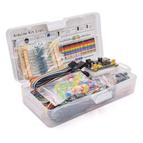 WEQQ DIY Electronics Basic Starter Kit Steckbrett Überbrückungsdrähte Widerstände Summer (Mehrfarbig)