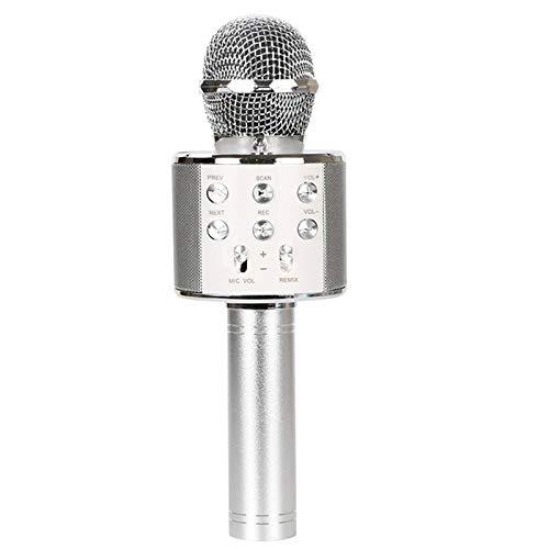 Práctico micrófono de linterna inalámbrico 858l con batería de litio incorporada micrófono de reverberación multifunción Plata