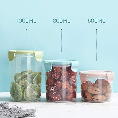 Graan Opslagtank Huishoudelijk Voedsel Plastic Transparant Verzegelde Snackfles Met Deksel Verse Fles Opbergdoos Pot-Groot Scandinavisch Poeder Van 1000 Ml