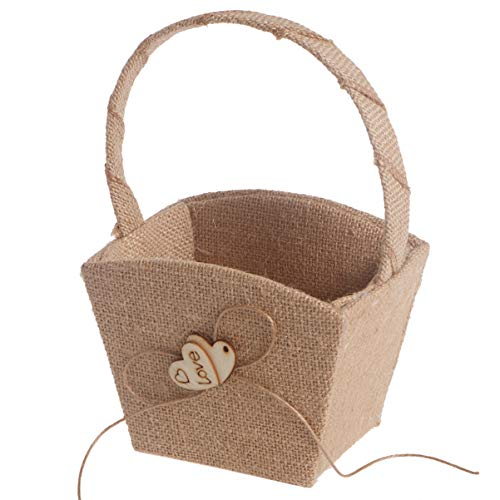 WINOMO Vintage Wedding Basket Rustic Hessian Wedding Flower Girl Basket Wooden Heart Handle for Vintage Rustic Wedding Ceremony