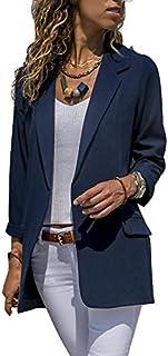 Asskdan Women's Open Front Long Sleeve Work Office Blazer Jacket Cardigan Casual Basic OL Leopard Blazer Suit