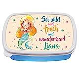Wandtattoo Loft Brotdose Meerjungfrau mit Spruch Sei wild und frech und wunderbar! -Blau