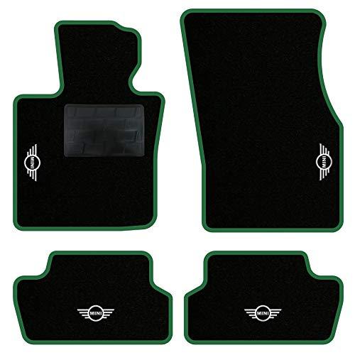 QUEMAR Kit Tappetini Auto per Mini F55 F56 F57 Cabrio/Set di Tappeti in Moquette e Gomma su Misura (2 Anteriori + 2 Posteriori) / 4 Ricami Personalizzati/Colori Personalizzabili (Bordo Verde)