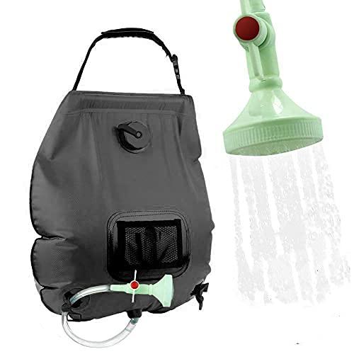 20L Wasserbehälter Camping Dusche Solarduschen Campingdusche Solar Heizung Dusche Tasche Tragbare Gartendusche Outdoor Warmwasser Dusche Wandern Wassersack (Black)