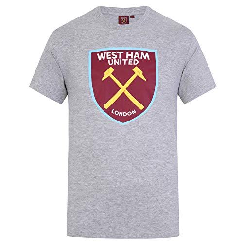 West Ham United FC - Camiseta Oficial para Hombre - con el Escudo del Club - Gris - M