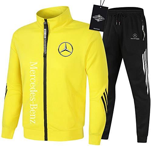 SPONYBORTY Herren Trainingsanzug Einstellen Joggen Passen Mercedes-Benz Kapuzenpulli Zip Jacke + Hose Kapuzenpullover Basketball Kleider Fitnessstudio/yellow/L