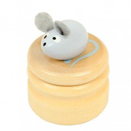 Boite à dents de lait souris grise boîte en bois couvercle à visser enfant 5 ans