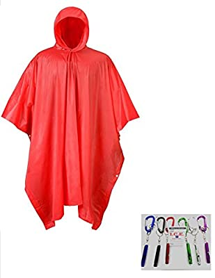VAS First Response High Visibility Safety 10 Mil Vinyl Emergency Rain Poncho | Travel | Vacation | Work & Play | Camping | Bonus Free! Aluminum Carabiner & Emergency Straight Whistle & I.C.E. CARD
