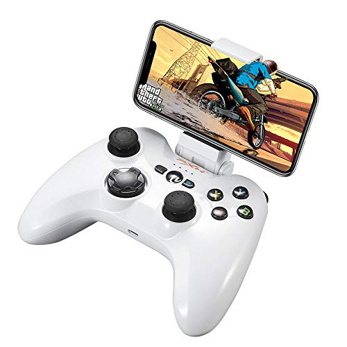 Mfi Certified Gamepad Controller for iPhone and Apple TV, Wireless Bluetooth Game Controller for IOS, Mobile Gaming Controller for iPad, Apple TV, with Aim and Shoot Trigger (White)…
