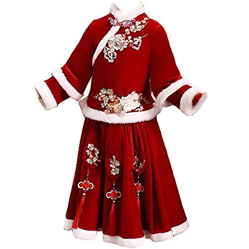 XYW Chicas Hanfu - Ropa de Año Nuevo Traje de Invierno Ropa para niños Bebé Año Nuevo Ropa de Invierno Festivo Un año de Edad Traje Tang Manga Larga (Color : Red, Size : #100)
