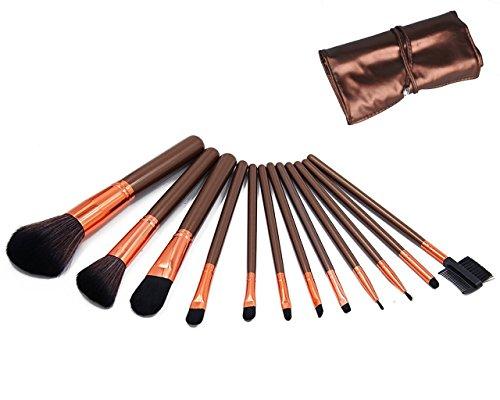 12 Pinceaux de maquillage Cosmétique Set Poudre Teint à café avec sac