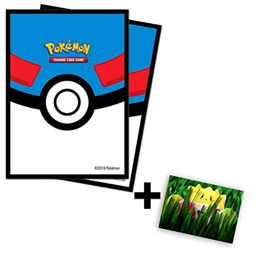 Lively Moments Pokemon Karten / Sammelkarten Hüllen Ultra-Pro Standard / 65 Stück in Superball-Optik / Schutzhüllen + GRATIS Grußkarte