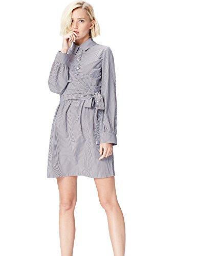 Marca Amazon - find. Vestido Mujer, Azul (Blue Stripe), 40, Label: M