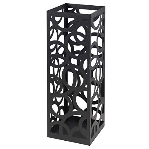 Baroni Home Portaombrelli Design Moderno Porta Ombrelli in Metallo con Intaglio Cerchio Nero con Gancino e Vaschetta Scolapioggia Rimovibile 18X18X55 cm