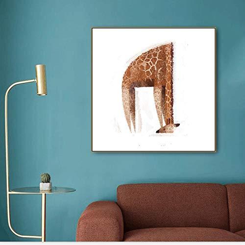 YBGW Kunstdruck Poster Bilder Lustige Giraffe Drucken Leinwand Kalligraphie Malerei Wandkunst Bild Für Wohnzimmer Schlafzimmer Kunst Poster Dekoration Bild Morden Kunstdrucke 40x40cm No Framed