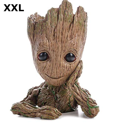 TPK XXL Baby Groot bloempot figuur - pot groot aquarium decoratief figuur hout asbak pennenhouder - binnen
