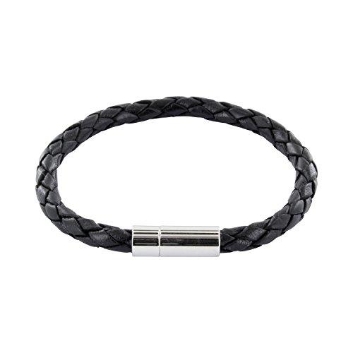 AURORIS Echtleder-Armband geflochten 5mm mit Magnetverschluss aus Edelstahl - Länge: 20cm / Farbe: schwarz