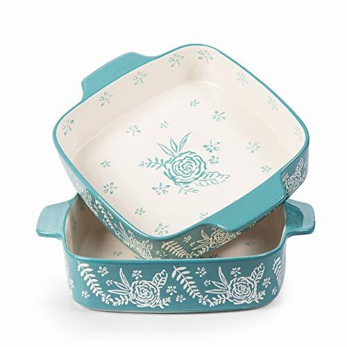 Wisenvoy Baking Dish Ceramic Brownie Pan 8x8 Baking Pan Casserole Dish Lasagna Pan Square Rose Dish Pan Bakeware Sets