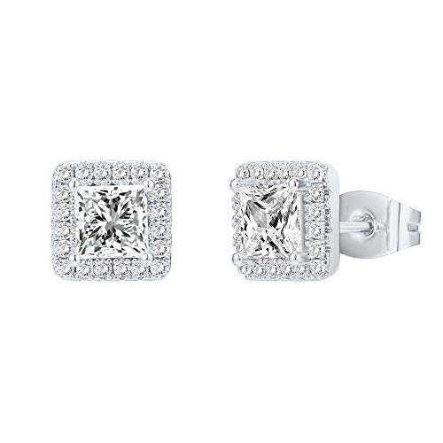 PAVOI 14K Gold Plated Sterling Silver Post Brilliant Round Faux Diamond Princess Cut Earrings  Premium Cubic Zirconia in White Gold