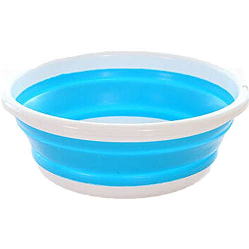 Fan-Ling Simple Life Folding Bucket,Portable Camping Fishing Car Washing Tool, Outdoor Travel Folding Bucket Wash Basin Collapsible Portable Waterproof,Saves Space,29 X 11cm (Blue)