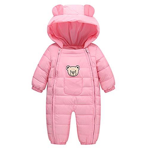 Culater Grils Bambini Maschi Simpatici Pagliaccetti Bear Giacca Invernale Spessa Capispalla Cotone Caldo Abbigliamento (0-6 Mesi, Rosa)