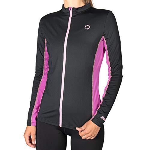 Gregster Damen Trainingsjacke leicht atmungsaktiv Laufjacke Longsleeve für draußen zum Überziehen , Schwarz (Schwarz/Lila) , S