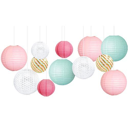 NICROLANDEE Decoración de fiesta de cumpleaños, color verde menta y rosa, kit de linternas de papel para bodas, despedidas de soltera, baby shower, decoración de fiesta de princesas