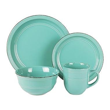 American Atelier 16 Piece Madelyn Blue Dinnerware Set, Aqua