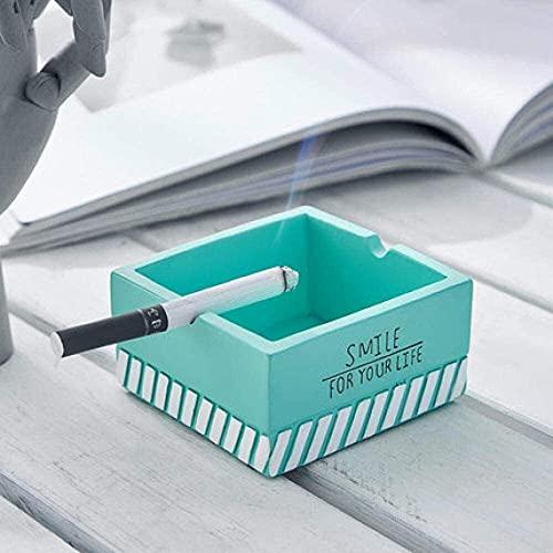 JIANGCJ Durable Cenicero Creatividad con Cubierta Ceniza Bandeja Bin de Resina Sala de Estar Hogar Mesa de Centro Ladies Adornos Verde 8x4cm