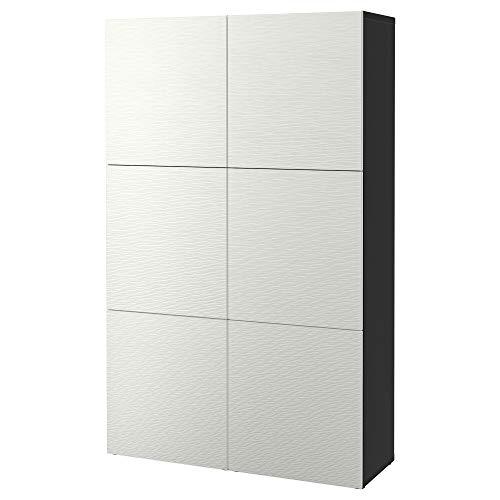 BESTÅ förvaringskombination med dörrar 120 x 40 x 192 cm svartbrun/Laxviken vit