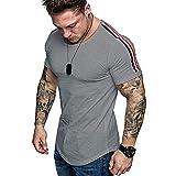 Shirt Hombres Manga Corta Slim Fit Cuello Redondo Hombres T-Shirt Elástica Rayas Empalme Hombres Shirt Ocio Transpirable Cómodo Moda Jogging Hombres T-Shirt Muscular D-Grey 1 L