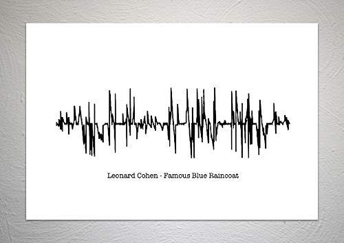 Leonard Cohen - Beroemde Blauwe Regenjas - Sound Wave Song Art Print - A4 formaat