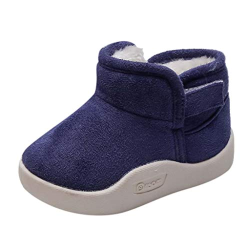 Baby Toddler Boys Girls Winter Snow Boots Flock Warm Shoes 1-5 Years Old Kids Cartoon Ankle Boots Booties (15-18 Months, Blue)