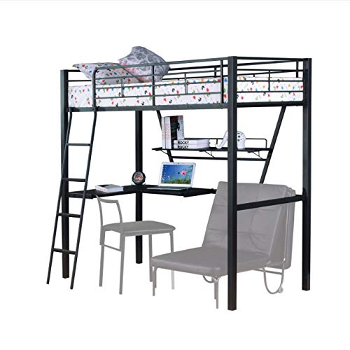 Industrial Style loft Bed-Full Size loft Bed-Easy to Assemble loft Bed-Loft Bed with Desk-Metal Frame loft Bed-Black
