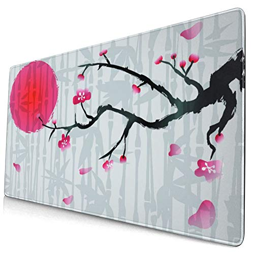 """Extra Large Gaming Mouse Pad with Stitched Edges,Japan Cherry Blossom with Bamboo,Non-Slip Rubber Base Computer Keyboard Mat,29.5"""" x 15.8"""""""