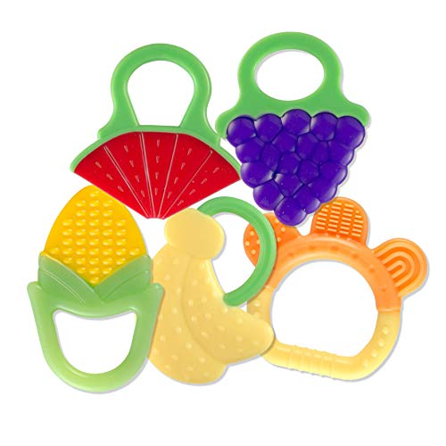 Baby Teething Toys (5 Count)| Food-Grade Soft Silicone Fruit Teethers for Babies | Fridge & Dishwasher Safe | BPA-Free
