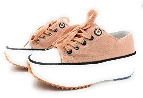 Zapatillas con Plataforma, Zapatillas de Lona Mujer, Zapatillas de Moda (Rosa, 39 EU, 39)
