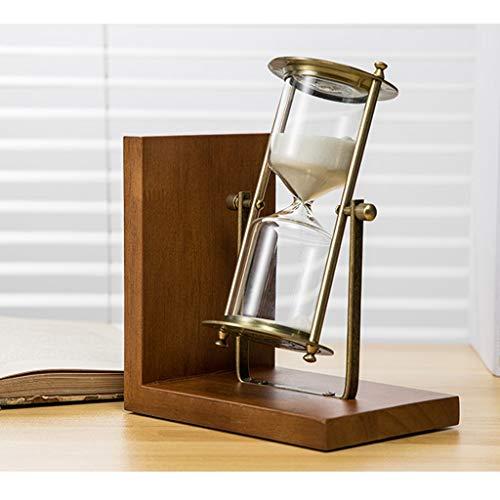 PanyFDD zandloper van massief hout, boekensteun, draairk, timer, decoratie, creatief cadeau, voor woonkamer, huis, 15 minuten, stopwatch, cadeau