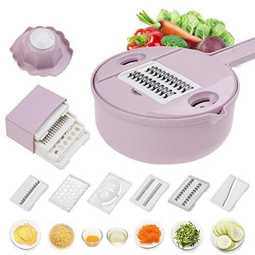 Mandoline snijmachine mes chopper groentesnijder rasp Ronde keuken multifunctionele versnipperen rasp fruit dunschiller Wash Lekkende bassin (Color : Purple 12 piece set)