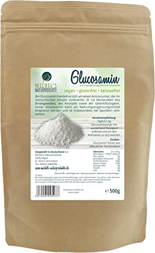 Michel´Naturprodukte Glucosaminsulfat Pulver 500g 2 KCL reines Glucosamin in Rohkostqualität Glucosamine Höchste Qualität auf pflanzlicher Basis