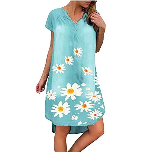 AMhomely Vestidos de verano para mujer, sueltos de verano en una línea de V, impresión de flores, manga corta, mini vestido de fiesta, elegante, talla Reino Unido