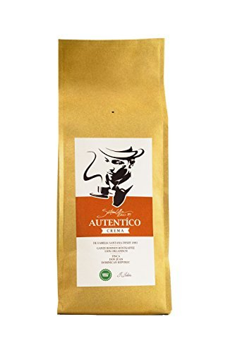 SANTANA AUTÈNTICO Ganze Kaffeebohnen, Premium Kaffee Crema, Fairtrade, 100% Arabica, Dominikanischen Republik, Weich und aromatisch, 1 kg