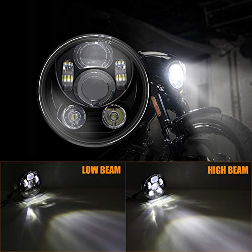 Motorcycle Headlight, 5-3/4 5.75-inch LED Headlight with DRL for Motorcycle, LED Projector Headlight Fog Lights