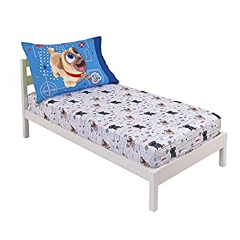 Disney Puppy Dog Pals Puppy Pals Fun White Blue & Green 2Piece Toddler Sheet Set - Fitted Bottom Sheet & Reversible Pillowcase Blue Green Grey White