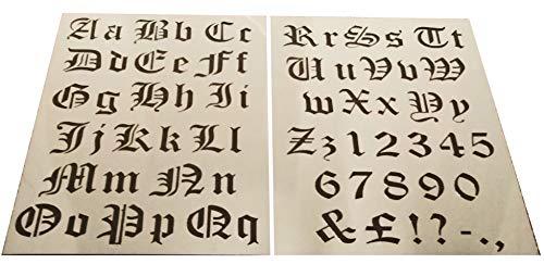 Shabby Chic Kunststoffschablone Schrift Zahlen Buchstaben Alphabet Groß- und Kleinbuchstaben Französisch/Altenglisch