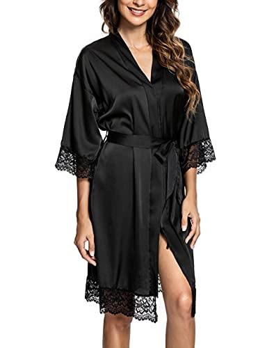 CMTOP Bata Mujer Seda Satén Corto Kimono Bata Pijama Vestido de Encaje Ropa de Dormir Suave Talla Grande Albornoces para Mujer Novia Dama de Honor(negro,M)